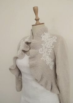 Bridal Ruffle Bolero Wedding Knit Jacket by crochetbutterfly