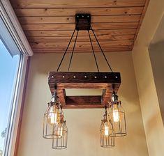 Rustic Chandelier - Industrial Modern Lighting - Commercial Lighting - Bar Restaurant Chandelier - Faux Reclaimed Wood Beam Rustic LED Light Wood Pendant Light, Industrial Pendant Lights, Rustic Chandelier, Rustic Lighting, Modern Industrial, Modern Lighting, Lighting Ideas, Pendant Lighting, Rustic Light Fixtures