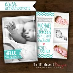 Printable Baby Boy Birth Announcement- Michael
