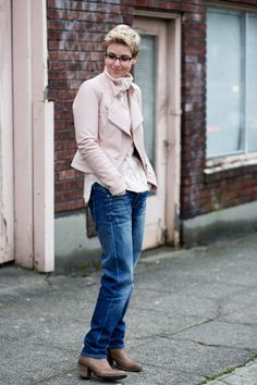 LOVE tan leather boots faded slouchy jeans Blush leather jacket  Blush, boots and faded denim.