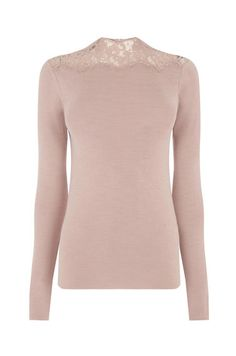 Warehouse, LACE HIGH NECK JUMPER Light Pink 0