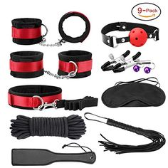 Sexy Slave 9-Piece Erotic Bondage Gear System with Hand Cuffs, Ankle cuffs, Whip, Paddle, Nipple Clamps, Blindfold, Slave Collar, Mouth Gag,Cotton Bondage Rope (Black)