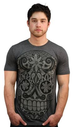 Calavera III T-shirt by wotto from Design By Humans. Calavera III, the day of the dead skull is here, perfect timing for Cinco de Mayo. Subtle grey and blacks tones make up this cool skull tee. Dark fashion, cool style and awesome tee. Get yours in time for El Dia de los Muertos! * Disclaimer: Men's XL is printed on Charcoal, not Charcoal Heather* for $20