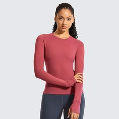 Women's Long Sleeve Running Shirt Athletic Workout Top with Thumb Hole – Peach Booty Apparel Long Sleeve Gym Tops, Long Sleeve Running Shirt, Running Shirts, Elite Shorts, Athlete Workout, Gym Tank Tops, Seamless Leggings, Spandex Material, Sport T Shirt