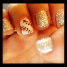 Baseballs & Glitter nails! <3 Just have to make this one gold for softball! :)