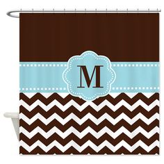 Brown Blue Chevron Monogram Shower Curtain on CafePress.com