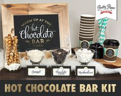 Hot Chocolate Bar Printable Kit // INSTANT DOWNLOAD // Hot Cocoa Party // Sign, Labels, Cup Tags by ThePrettyPaperStudio on Etsy https://www.etsy.com/uk/listing/216200511/hot-chocolate-bar-printable-kit-instant