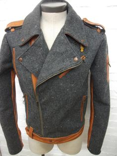 Tweed & Camel Leather Jacket by Toure Designs