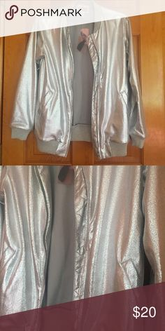 Metallic silver bomber jacket Forever 21 metallic silver Conner jacket, super comfy and stylish. Size small. New with tags! Asos Jackets & Coats