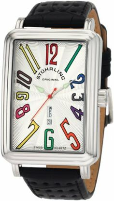 Stuhrling Original Men's 1102L.FS.33152 Symphony Uptown Ozzie XL Swiss Quartz Day and Date Watch Stuhrling Original. Save 71 Off!. $94.27. Guilloche designed silver-tone dial, multi-colored Arabic numerals at all hour positions. Krysterna crystals; pierced design black leather strap. Silver-tone luminous hour and minute hands and a red second hand. Water-resistant to 165 feet (50 M). Stainless steel rectangular case, step design bezel