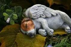 Jack Russell Terrier Dog Angel Concrete Memorial by PhenomeGNOME