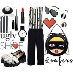 tassel loafer in black and white by kc-spangler on Polyvore featuring Dolce&Gabbana, Boohoo, Anouki, Palm Beach Jewelry, Kate Spade, Anya Hindmarch, MICHAEL Michael Kors, NARS Cosmetics, Givenchy and stripes