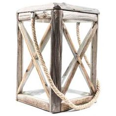 Natural Wood & Glass Lantern with Rope Handle | Hobby Lobby | 223651
