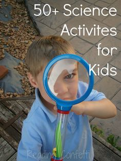 More than 50 science activities for kids from Kid's Co-op. Experiements, Physics, Mixtures & Potions, Weather, & Nature activities.  SO many cool ideas in one place!