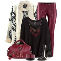 Aztec Cardigan and Leather Pants Outfit