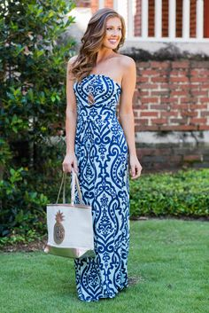 """""""Never Too Busy Strapless Maxi Dress, Navy""""This bold printed maxi dress is so cute and even more comfy! You are going to love it's soft, stretchy fabric and it's fab colors! #newarrival #shopthemint"""