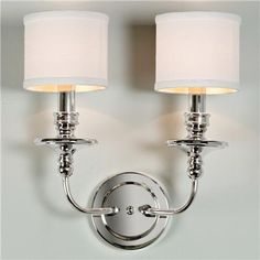 Springfield Sconce with Linen Drum Shades 2 LT - polished nickel