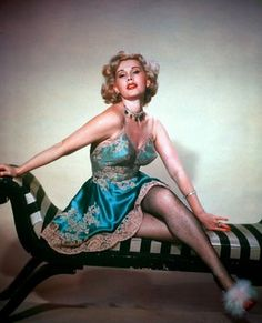 Actress Eva Gabor in Vintage Lingerie
