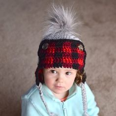 Toddler version of the Plaid Trapper Hat is on the blog! I have a few more requests to get to, so I hope you aren't plaid-ed out yet 😂  #crochetpattern #freecrochetpattern #crochet #crochetplaid #plaidtrapperhat #crochethat #crochetplaidhat #whistleandivy #toddlerhat #toddlertrapperhat #crochetfortoddlers #crochetbuffaloplaid