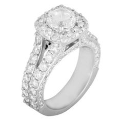 Hoff Jewelers :: Split shank halo engagement - 1.08 Ct. Tw. #hoffjewelers So love this!
