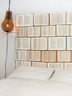 This one is for the bibliophiles: Try adhering vintage, dollar-bin books to a solid surface to create a headboard, like this one from Design Everyday.