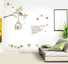 """""""Everyday is a new life to a wise man."""" - love this wall decal! Animal Wall Decals, Bird On Branch, Wise Men, New Life, Motivation Inspiration, My Room, Branches, Wall Stickers, Birds"""