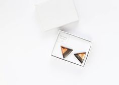 Copper and dark brown stoneware geometric and sterling silver earrings