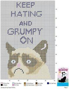Keep hating grumpy cat x-stitch Plastic Canvas Christmas, Plastic Canvas Crafts, Plastic Canvas Patterns, Craft Books, Book Crafts, Canvas Designs, Tissue Box Covers, Grumpy Cat, Rug Hooking