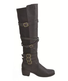 Another great find on #zulily! Black Buckle Audi Boot by Chase & Chloe #zulilyfinds