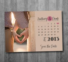 Printable Calendar Save the date cards, heart date save the date ...