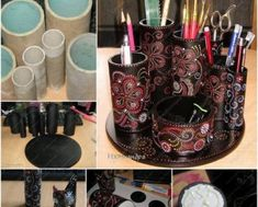 DIY Beautiful Desk Organizer from Paper Roll