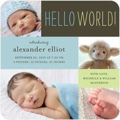 Handwritten Hello - Boy Photo Birth Announcements - simplyput by Ashley Woodman - Peppermint - Blue : Front