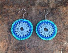 big blue earrings crochet mandale earrings blue by Marmotescu
