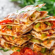 Chicken Fajita Quesadillas Recipe Lunch and Snacks, Main Dishes with olive oil, fajita seasoning mix, boneless chicken breast, red bell pepper, green bell pepper, onions, cheese, salsa, sour cream, tortillas, butter