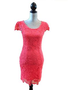 Now & Forever Lace Dress - Coral