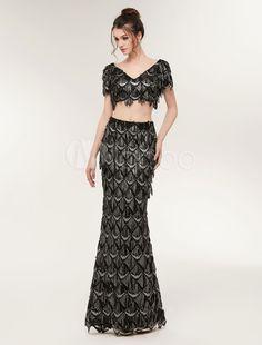 V Neck Sequined Mermaid Evening Dresses Short Sleeve Black Two Pieces Long  Pageant Prom Dress vestido de festa f0affaaad1f2