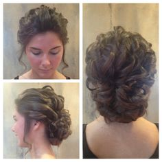 Updo by Katie. Loose curls into a low bun.