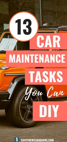 Here are 13 car maintenance tasks you can DIY to save money. Check out this easy to follow car maintenance checklist to keep your car in top shape and save money all year round! #carmaintenance #maintenancechecklist ##DIY #car #carmaintenanceschedule #hacks #savemoney
