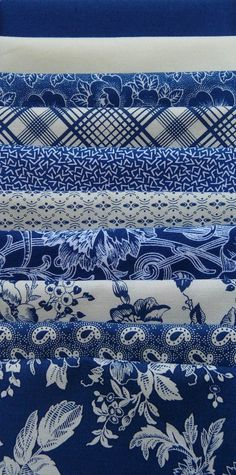 Gallery in Blue, Blue/White Fat Quarter Bundle (10) - The Quilted Crow Quilt Shop, folk art quilt fabric, quilt patterns, quilt kits, quilt blocks
