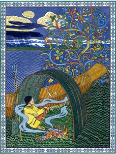 """Gennady Pavlishin for """"Folk Tales of the Amur: Stories from the Russian Far East."""" From the limited amount I could see searching inside the text on Google Books, my best guess for the tale this illustration goes with is """"The Poor Man Monokto."""""""
