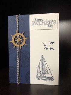 Father's Day card Carta del papà Masculine Birthday Cards, Birthday Cards For Men, Handmade Birthday Cards, Masculine Cards, Fathers Day Cards Handmade, Diy Birthday, Tarjetas Stampin Up, Nautical Cards, Beach Cards