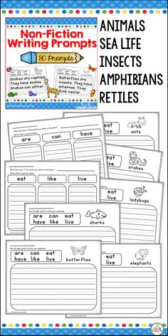 Non-Fiction writing prompts for kindergarten 1st and 2nd grade. Creative writing for beginning writers 80 prompts for animals, sea and ocean life, insects, amphibians, reptiles. Word bank and primary writing lines. Alligators, Birds, Cheetahs, Dinosaurs, Eagles, Elephants, Flamingos, Giraffes, Gorillas, Kangaroos, Koala Bears, Lions, Monkeys, Panda Bears, Penguins, Polar Bears, Reindeer, Snakes, Tigers, Turtles, Zebras, Dolphins, Sharks, Bees, Butterflies, Crocodile, Dragonflies, Frogs…