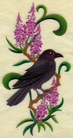 Yukon Raven & Fireweed Medley Embroidered by EmbroideredbySue