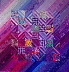 Pamela Zave made this quilt, Lavender, Heliotrope, Hyacinth, Iris in 2004. It measures 57″x57″.
