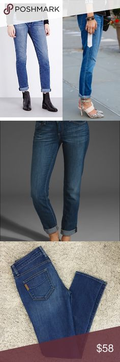"Paige Jimmy jimmy Skinny ""Our Jimmy Jimmy Skinny Jean features a slim boyfriend fit with relaxed style and tailored execution. Perfectly grazing the ankle bone with a rolled cuff, this style truly flatters.  With super soft construction, authentic character and our medium wash, this a off-duty pick looks beautifully worn-in."" Great condition! Modeled Pictures are not the exact color but they are close. PAIGE Jeans"