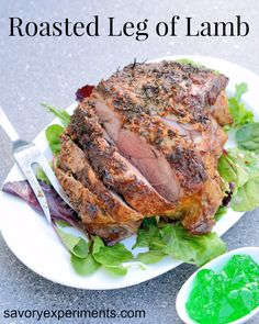 Roasted Leg of Lamb Recipe- herb crusted leg of lamb done easy! perfect for any family meal or Easter dinner. Yummy!