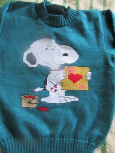 chompa para niño bordado a mano - snoopy