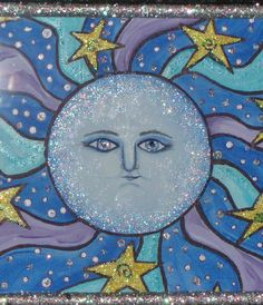 Moon art whimsical art painting by LyndaMakaraCreations
