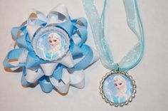 Frozen Bows and Bottlecap Necklaces by GirlyGoozBoutique on Etsy, $10.00