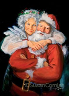 Santa & Mrs. Claus - from $25 at Susan Comish Christmas Art Gallery   Quality Prints & Original Artwork
